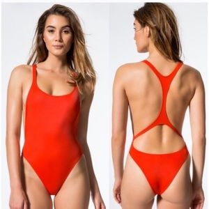 Solid & Striped Red One Piece